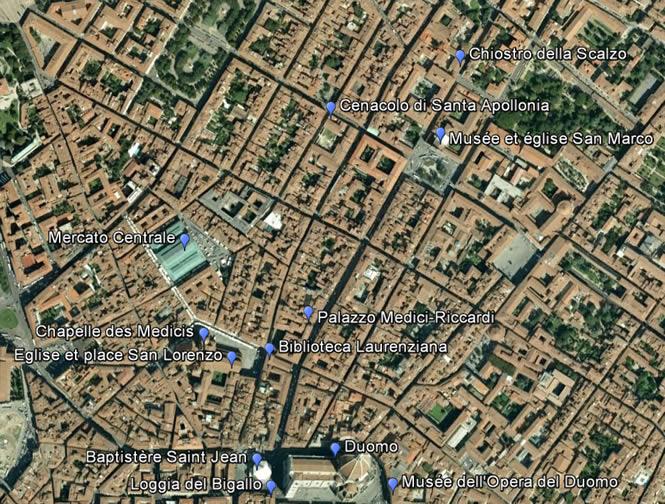 Carte Du Centre De Florence Au Nord Duomo